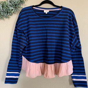 ✨ Deletta | Blue & Black Stripe Long Sleeve, M